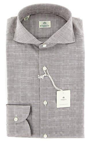 new-luigi-borrelli-brown-plaid-extra-slim-shirt