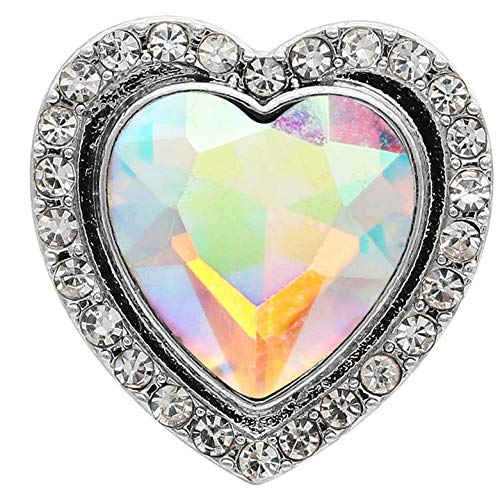 Rockin Angels Silver Iridescent Opal Heart Rhinestone 20mm Snap Button Charm for Ginger Snaps