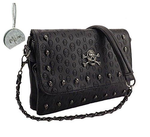 Micom Women Punk Skull Rivets Flap Cross Body Bags Shoulder Purse with Chain Strap (Black) (Skull Purse)