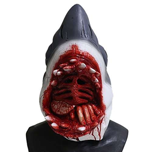 Shark Mask Latex Scary Animal Head Fancy Dress Party Ocean Fish Costumes -
