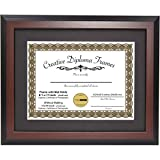 CreativePF [11x14mh-b] Mahogany Diploma Frame with 11x14-inch Black Mat to Hold 8.5 by 11-inch Graduation Documents w/Stand and Wall Hanger