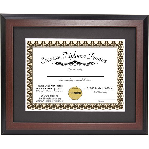CreativePF [11x14mh-b] Mahogany Diploma Frame with Black Mat to Hold 8.5 by 11-inch Graduation Documents with Installed Wall ()