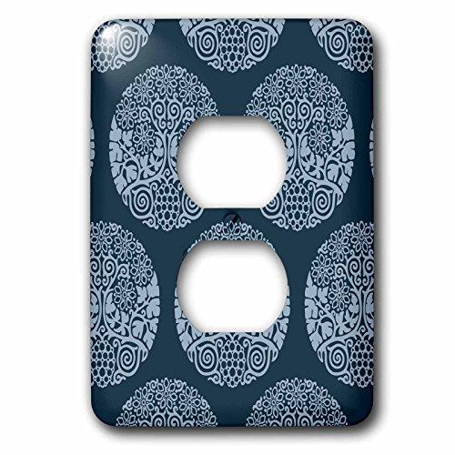 3dRose Russ Billington Patterns - Block Print Style Circular Grape Vine and Flowers in Tonal Blue - Light Switch Covers - 2 plug outlet cover (Tonal Block)