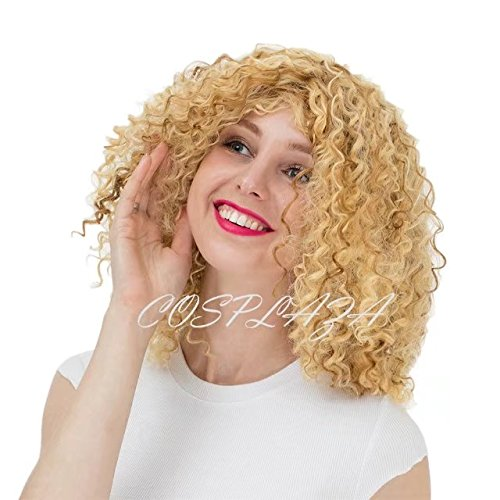 [COSPLAZA Christmas Cosplay Wig Unisex Corncob Perm Long Kinky Curly Blonde Mixe Full Hair] (Perm Wigs)