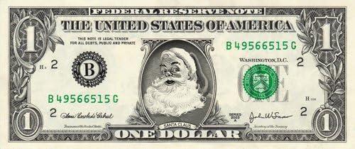 Santa North Pole Green Note Christmas Million Dollar Funny Money FREE SLEEVE