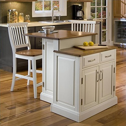 - Home Styles 5010-948 Woodbridge 2-Tier Kitchen Island with 2 Stool, White Finish