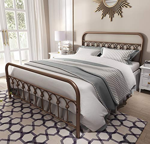 Queen Bed Frame Headboard Footboard - Vintage Sturdy Queen Size Metal Bed Frame with Headboard and Footboard Basic Bed Frame No Box Spring Needed,Antique Brown.