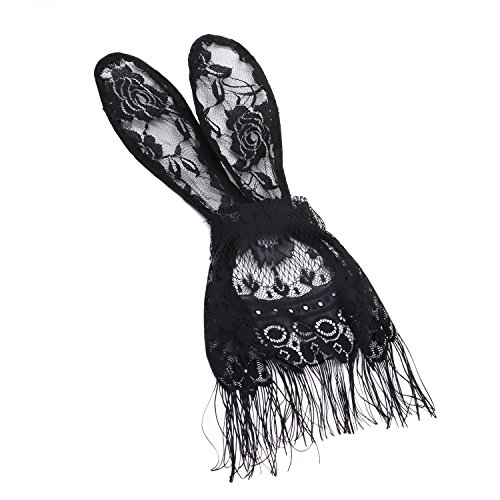 HUELE Bunny Rabbit Ears Lace Mask Veil Headband for Nightclubs & Masquerade & Halloween & (Lace Rabbit Mask)
