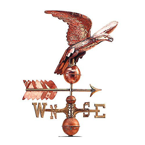 (Renovators Supply Manufacturing Polished Copper Freedom Flight Eagle Weathervane Made to Turn Into Verdigris Finish Over Time 17
