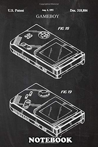 """Notebook: Patent Drawing 1991 Gameboy, Journal for Writing, College Ruled Size 6 """"x 9"""", 110 Pages"""