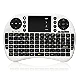 Mini Wireless Keyboard, ELEGIANT 2.4 GHz Keyboard Mouse Touchpad without Wires for Win 7 Android Smart TV Box, Media Box, Desktop, Laptop, Mini PC, TV Car, HTPC, Big Screen TV, Smart TV, PS3-White PI