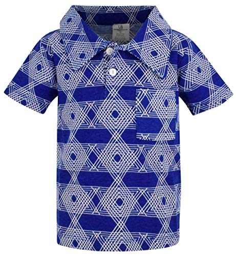 Unique Baby Boys Star of David Hanukkah Button Up Collared Shirt (5) Blue ()