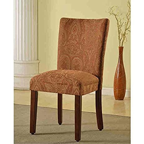 homepop classic parson redgold damask durable fabric with solid frame and legs dining chair