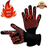 Dzzzzc BBQ 1472°F Extreme Heat Resistant Gloves EN407 Certified-Home/Kitchen/Outdoor Hand Protection Five Fingers Grill Microwave Oven Mitts for Cooking, Grilling, Baking,Barbecue XL