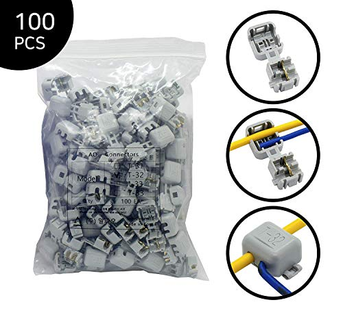 AlphaO Quick Splice Snap Wire Connector - Self-Stripping Electrical Butt Connector Terminal Kit No Clipping, Splicing, Taping Needed/One-to-One & T-tap Connection (T-32, 100 pcs, 16-14, 20-18 AWG)