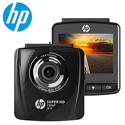 HP Dash Cam for Cars 1296P Super HD Night Vision Dashboard Camera Recorder with 2.4″ LCD Screen HDR Motion Detection, Parking Monitor, WDR, 150 Wide Angle Lens, Loop Recording and G-Sensor