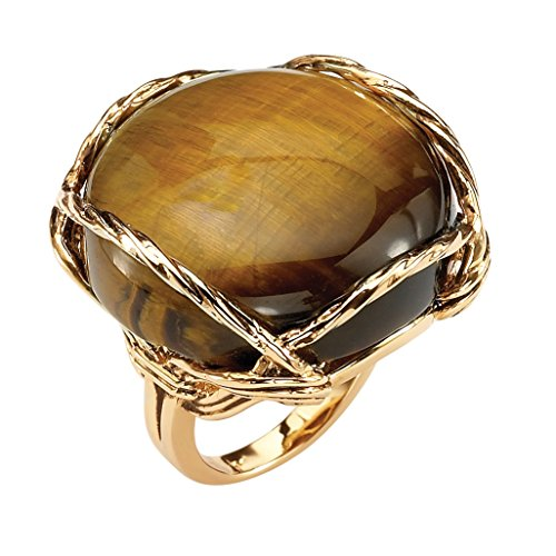 Palm Beach Jewelry Genuine Tiger's Eye 14k Gold-Plated Cabochon Pillow Ring Size 8