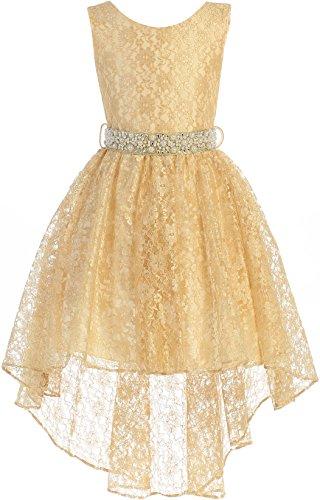 Girls Dresses Size 20 (BNY Corner Big Girl High Low Floral Lace Rhinestones Pearl Belt Easter Pageant Flower Girl Dress Gold 20)