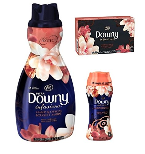 Downy Amber Blossom Bundle - Fabric Softner 41 oz / Dryer Sheets 105 ct / In Wash Booster 9.7 oz - 3 pk