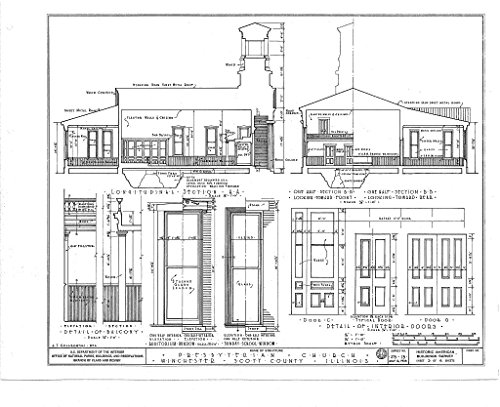 Historic Pictoric Blueprint Diagram HABS Ill,86-Winch,1- (Sheet 3 of 6) - Presbyterian Church, West Cherry & North Mechanic Streets, Winchester, Scott County, IL 14in x 11in