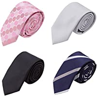AUSKY Mens Skinny Neckties Fashion Business Narrow Ties Textured Style Mixed set 4 Packs