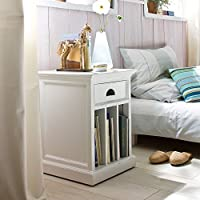 NovaSolo Halifax Pure White Mahogany Wood Bedside/Night Stand/End Table With Drawer And 3 Dividers