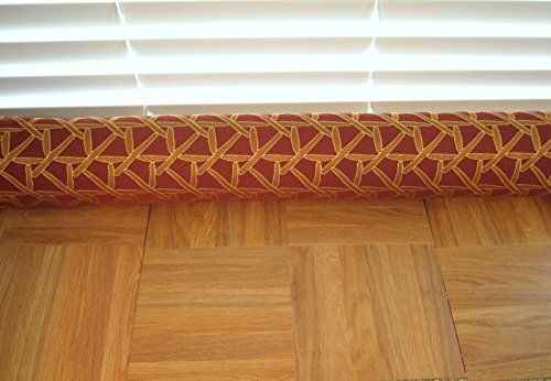 Door Draft Stopper Fabric Only Heavy Weight Upholstery Red Gold Fabric Custom Made 24