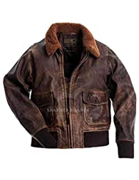Aviator G-1 Flight Jacket Distressed Brown Real Leather Bomber Jacket