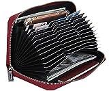 Easyoulife Womens Genuine Leather Credit Card Holder Wallet RFID Secure 36 Slots (36 Card Slots - Wine Red)