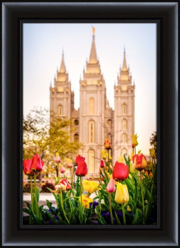LDS (Mormon) 26.75 x 36.75 Framed Salt Lake Temple Tulips LDS Wall Art