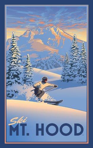 Northwest Art Mall Ski Mt. Hood Powder Skier Unframed Prints by Paul B Leighton, 11-Inch by 17-Inch
