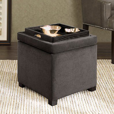 Regency Heights Maddox Small Cube Storage Ottoman Is Beautifully Crafted With an Hardwood Frame and Soft Polyester Fabric In (Gunmetal)