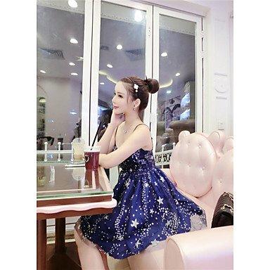 PU&PU Robe Aux femmes Trapèze Simple,Galaxie Bateau Au dessus du genou Polyester , dark blue , s