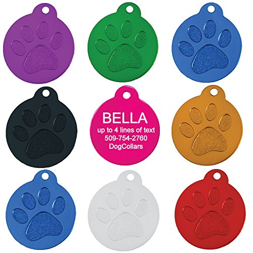 (Round Paw Personalized Pet ID Tags | 8 Colors Options | Durable Lightweight Anodized Aluminum | for Cats and Dogs)
