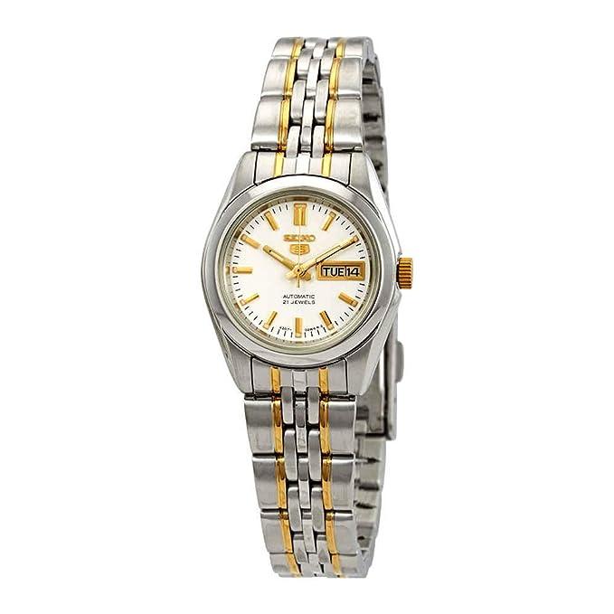 Amazon.com: Seiko Series 5 Automatic White Dial Ladies Watch SYMA35: Watches