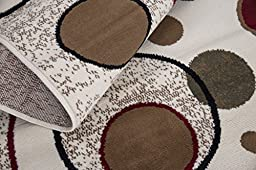 Sweet Home Stores Clifton Collection Modern Circles Design Area Rug 5\'x7\', Beige