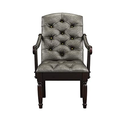 Excellent Victorian Tufted Faux Leather Accent Chair Armchair For Home Kitchen And Living Room Traditional Accent Chairs With Arms Wooden Legs Grey Creativecarmelina Interior Chair Design Creativecarmelinacom