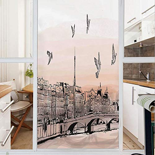 Stained Glass Panorama - Decorative Window Film,No Glue Frosted Privacy Film,Stained Glass Door Film,Panorama Sketch Art Sunset View of Paris From Pont Des Arts with Pigeons River,for Home & Office,23.6In. by 35.4In Peach Gre
