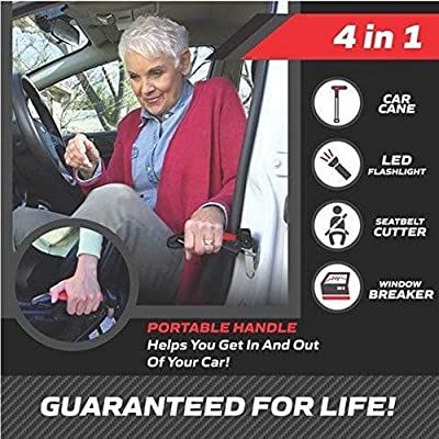 The Original Emson Car Cane – All-in-One Auto Assist Handle with Built in LED Flashlight, Seatbelt Cutter, and Window Breaker – 100% Lifetime Guarantee, Batteries Included : Car Electronics