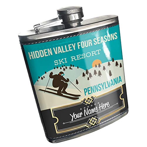 (Neonblond Flask Hidden Valley Four Seasons Ski Resort - Pennsylvania Ski Resort Custom Name Stainless Steel)
