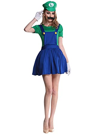 Ninimour Super Luigi Bros Damen Halloween Kostüme M Amazonde