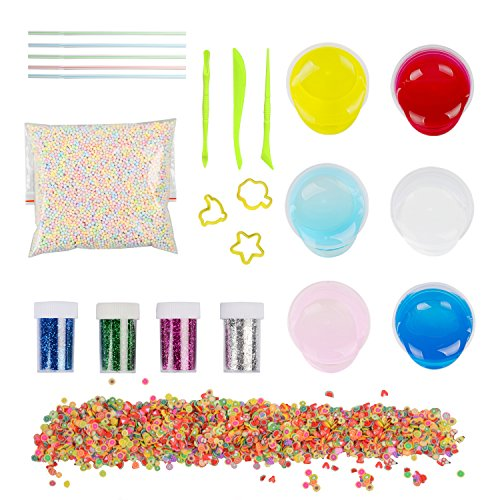 DIY Fluffy Slime Kit, 6 Pack Crystal Clear Slime Making Kit Comes with Colorful Foam Balls, Fruit Face Decoration, 4 Bottles Glitter Shaker Jars, Magic Slime Toys for Adults and Children by TopTops