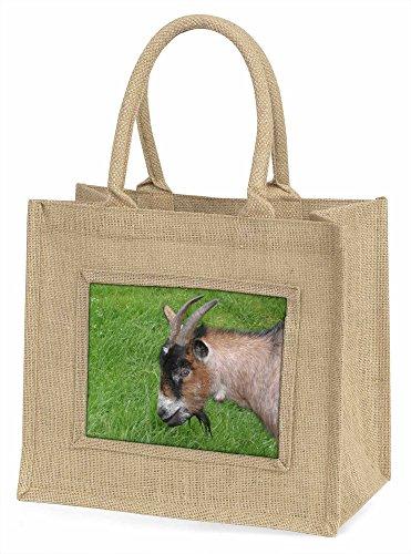 Advanta Cheeky Goat Große Einkaufstasche Weihnachten Geschenk Idee, Jute, beige/natur, 42x 34,5x 2cm