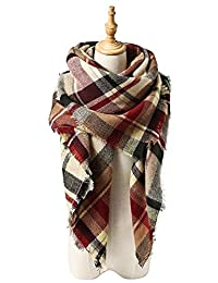 Women's Blanket Winter Scarf Warm Cozy Tartan Wrap Oversized Shawl Cape For Women