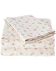 Amrapur Microfiber Sheet Set | Luxuriously Soft 100% Microfiber Rose Printed Bed Sheet Set with Deep Pocket Fitted Sheet, Flat Sheet and 2 Pillowcases