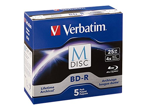 Verbatim M-Disc BD-R 25GB 4X with Branded Surface - 5pk Jewel Case - 98900