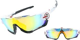ANLW Lunettes de Soleil Sports polarisées avec 4 Verres interchangeables UV400 Protection Lunettes de Soleil Sports pour Le Cyclisme Lunettes de Course,A2