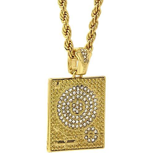 Mens 14k Gold Plated Hip-Hop Cz Boom Box Pendant 30