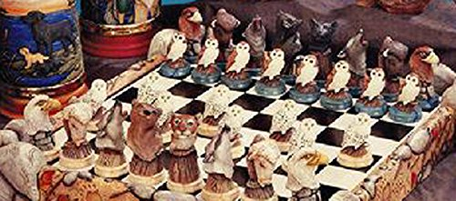 Northamerican 32 piece Wildlife Chess Set 3'' to 5'' Ceramic Bisque, Ready to Paint by Creative Kreations Ceramics (Image #1)