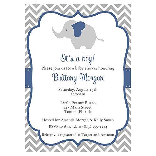 Elephant Baby Shower Invitations Chevron Stripes Boys Navy Blue Grey Gray It's a Boy Little Peanut Polka Dots Invites Customized Personalized Printed (10 Count)